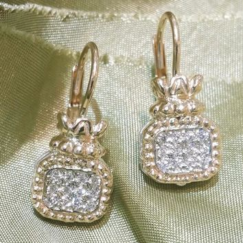 Vahan Sterling Silver & 14K Yellow Gold Pave Diamond Drop Earrings
