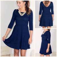 Rockin Around Navy Patterned Fit & Flare Dress