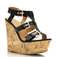 strappy-wedges BLACK WHITE - GoJane.com