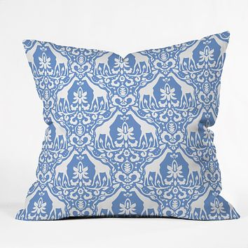Jacqueline Maldonado Giraffe Damask Pale Blue Throw Pillow