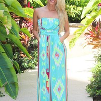 Mint Aztec Maxi Dress with Pockets