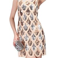PrettyGuide Women Art Deco Mermaid Sequin Fishscale Flapper Glam Party Dress