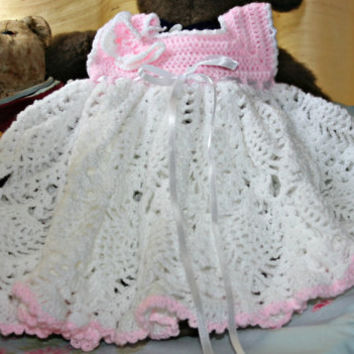 Baby crochet dress Little girls dress lace party crochetyknitsnbits white pink luxury hand made baby girl clothes shower gift 3 to 9 months