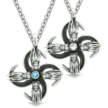 Supernatural Dragon Amulet Powers Love Couples Best Friends Blue White Crystals Pendant Necklaces