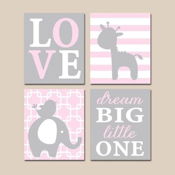 Pink Gray Nursery Wall Art, Baby GIRL Nursery Decor, ELEPHANT GIRAFFE, Dream Big Little One, Elephant Giraffe Canvas or Print, Set of 4
