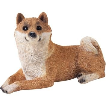 "Sandicast ""Small Size"" Lying Red Shiba Inu Dog Sculpture"