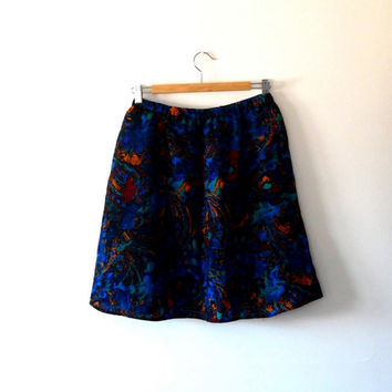 Abstract print wool skirt. sapphire blue. emerald green. orange. dark red. vintage. 90s. mini skirt. lined. elasticated. flared skater skirt