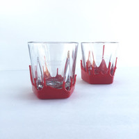Pair of Maker's Mark Whisky Rocks Glasses, Set of 2 Vintage Maker's Mark Bourbon Red Wax Glasses
