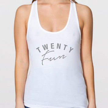 Twenty Fun - Tank Top - 21st Birthday Tank Top - funny legal drinking age Racerback Tank Top - Birthday Tanktop - shirt for Women S-111