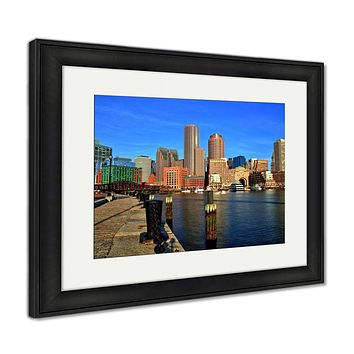 Framed Print, Boston Skyline Financial District Boston Harbor Sunrise