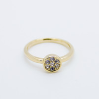 Circle rhinestones knuckle, midi ring