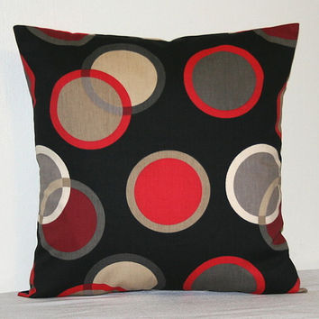 Black Red Gray and Tan 18 inch Decorative Pillows Accent Pillow Throw Pillow Cushion Cover