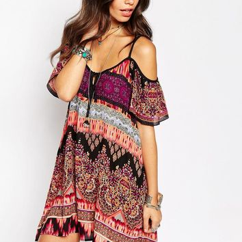 Band of Gypsies Mandala Cold Shoulder Swing Dress In Print