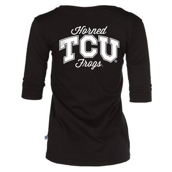 Official NCAA Texas Christian University Horned Frogs TCU Horned Frog FROGS FIGHT! Womens Football V-Neck