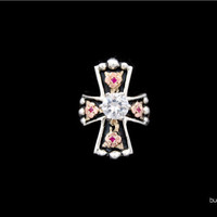 Crystal Long Cross Ring - Hyo Silver