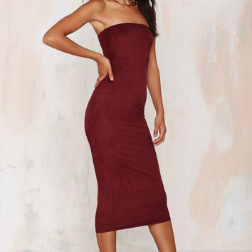 Lexia Strapless Midi Dress - Burgundy