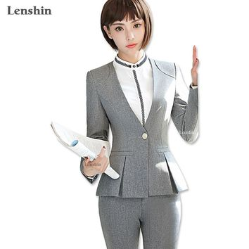 Lenshin 3 Piece Set Women Pant Suit Uniform Design Formal Style Pleat Office Lady Business Career Gray Blazer With Pant For Work