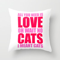 Cat Love Throw Pillow by LookHUMAN