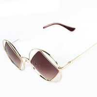 Round Metal Frame Square Shape Synthetic Resin Lens Sunglasses 052225 S0606 Color Golden