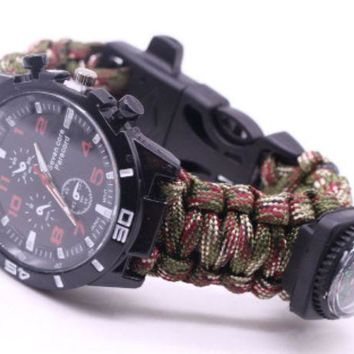 Outdoor Umbrella Rope Braided Flint Compass Watch Outdoor Multi Purpose Seven Core Umbrella Rope Braided Watch