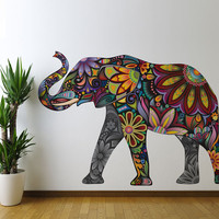 Colorful Elephant Wall Sticker Decal