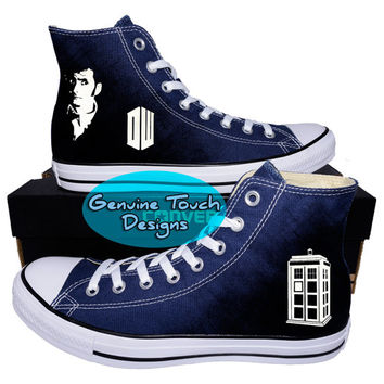 Custom Converse, Doctor who, Tardis, Time lord, Fanart shoes, Custom Chucks, painted shoes, personalized converse hi tops v2