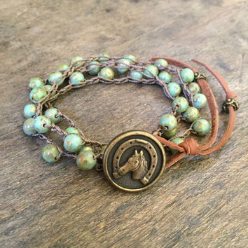 Lucky Horseshoe Knotted Crochet Country Boho Wrap Bracelet, Beaded Jewelry by Two Silver Sisters