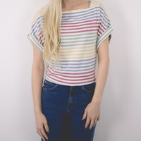 Vintage Striped Pastel Boxy Blouse