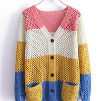 Pink Color Block Sweater with Double Pockets$41.00