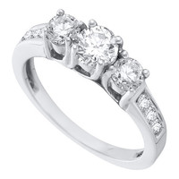 Diamond 3 Stone Bridal Ring in 14k White Gold 1 ctw
