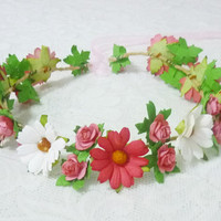 Colorful flower crown Flower headband Red white pink daisy rose  /Rustic crown /Flower headpiece /Flower hair wreath party flower