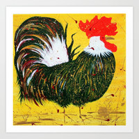 """doodle doo"" rooster Art Print by Jennifer Pennacchio"