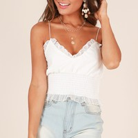 Love Bubble crop top in white lace Produced By SHOWPO