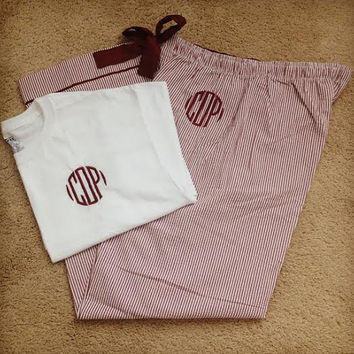 Seersucker Monogrammed Pajama Set, New Colors and Monogram Styles!