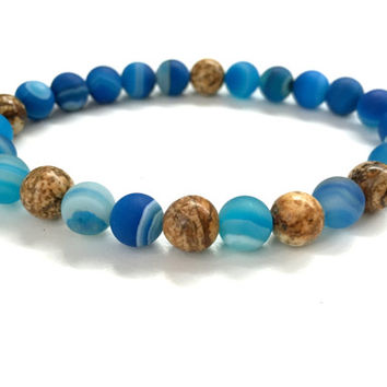 Men's Beaded Bracelet. Blue Agate & Jasper Gemstone Bracelet. Nautical Jewelry. Elastic Bracelet. Spring Summer Bracelet for Him and Her
