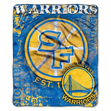 Golden State Warriors NBA Royal Plush Raschel Blanket (Dropdown Series) (50in x 60in)
