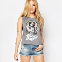New Street Printing Vest Wild Sleeveless Large Size T - Shirt B0015282