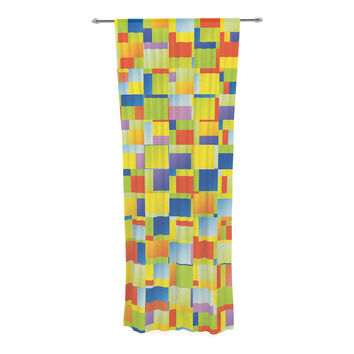 "Dawid Roc ""Multi Color Blocking"" Yellow Geometric Decorative Sheer Curtain"