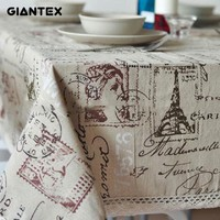 Tower Print Decorative Cotton Linen Lace Table Cloth For Kitchen