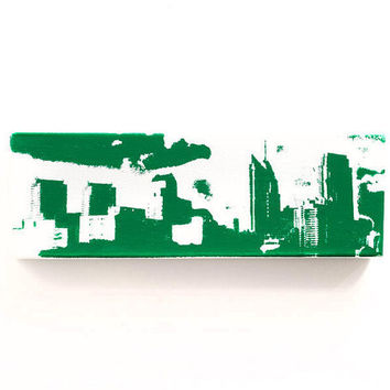 Philadelphia Skyline Canvas (White with Green) Screenprint/Painting, Philadelphia Wall Art, Philadelphia Eagles Home Decor, Urban Art