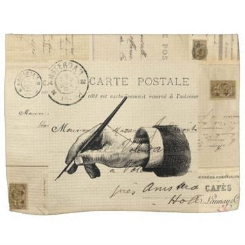 Vintage Fountain Pen Hand French Postcard Towel