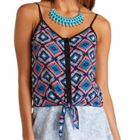 Sheer Aztec Print Button-Up Crop Top by Charlotte Russe