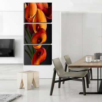 3 PC Unframed Still Life Canvas Painting Calla Lily Flower Vertical Canvas Prints Decor for Living Room Wall Pictures