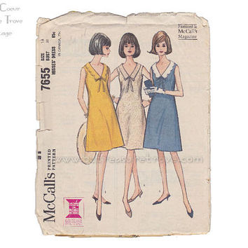 Mod 1960s Dress Pattern Vintage McCalls 7655 V Neck Sleeveless Shift Bust 38 Sewing Patterns