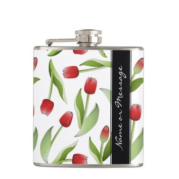 Red Tulip Floral Patten Love Modern Chic Spring Flask