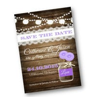 Rustic Save the Date Invitation Purple Wedding Wood mason jar card  string of lights rustic lace vintage shabby chic printable invitation