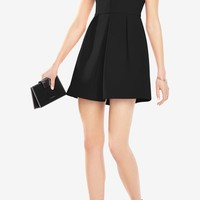 BCBG Clayre Double Strap Pleated Little Black Dress