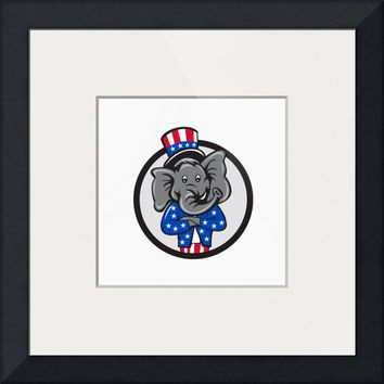 """Republican Elephant Mascot Arms Crossed Circle Car"" by Aloysius Patrimonio"