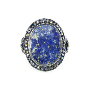 Art Deco Ring, Sterling Germany, Blue Lapis, Marcasite, Silver Jewelry, German Jewelry, Antique Ring, Size 6.75