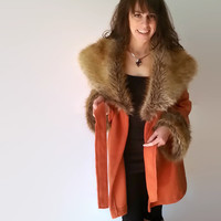 Faux Fur Coat, Fur Coat, Large Womens Outerwear, Womens Winter Coats Jackets, Fleece Jacket, Oversize Fur Collar & Cuffs, Burnt Orange Coat